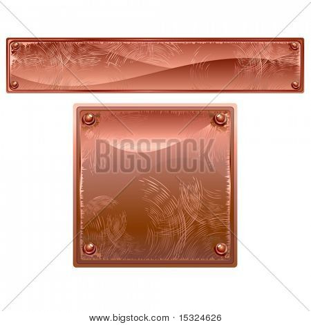 Vector Copper Metal plates with rivets