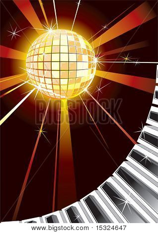disco ball with piano keys vector party background