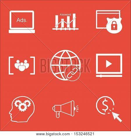 Set Of Marketing Icons On Questionnaire, Brain Process And Keyword Optimisation Topics. Editable Vec