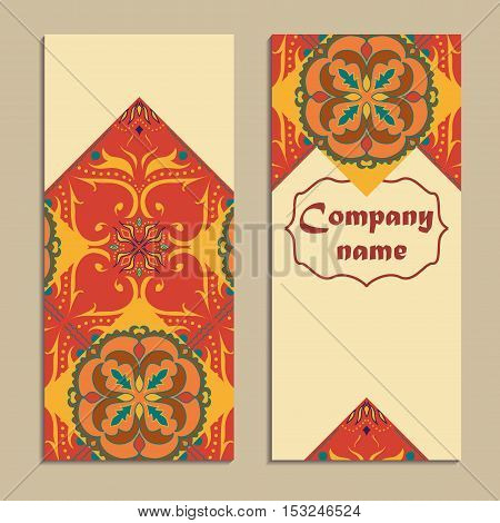 Vector set of orange colorful vertical banners for business and invitation. Portuguese Moroccan; Arabic; asian ornaments. Geometric and floral motifs