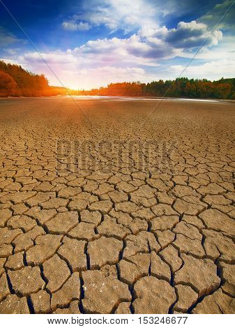 Land with dry and cracked ground. Climate change drought cracked ground