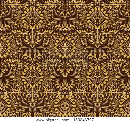 Damask seamless pattern repeating background. Golden brown floral ornament in baroque style.