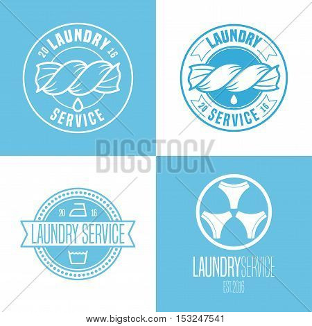 Laundry washing service set of vector logo icon symbol emblem. Design elements with washing machine for business related to laundry