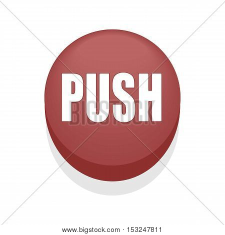 Red Round Shiny Push Button. Isolated. Simple