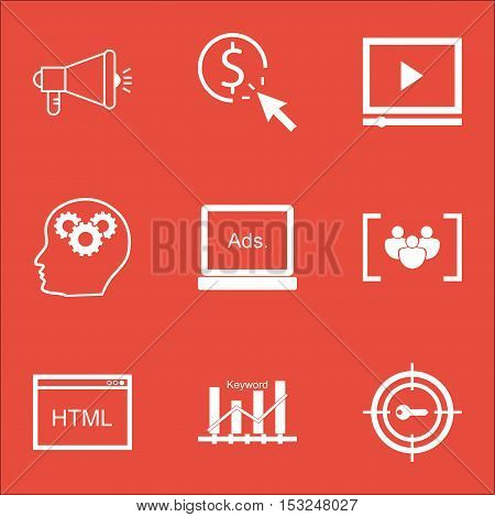 Set Of Marketing Icons On Questionnaire, Video Player And Ppc Topics. Editable Vector Illustration.