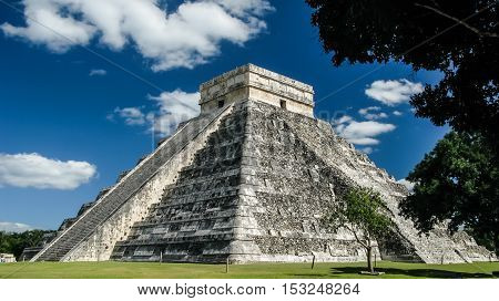 Pyramid of Kukulkan in Chichen Itza old maya city Yucatan Mexico