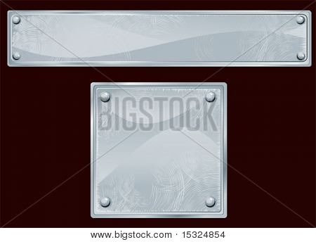 Steel,aluminum metallic plate/sign . Vector illustration