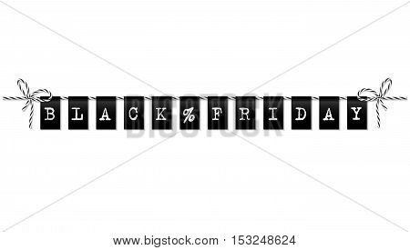 Black friday sale bunting banner with bakers twine rope bows on white background