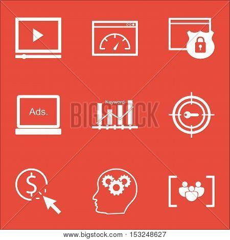 Set Of Seo Icons On Security, Digital Media And Brain Process Topics. Editable Vector Illustration.