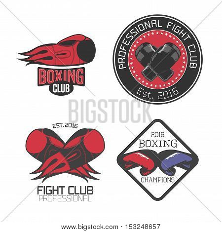 Boxing box club set collection of vector icons logo symbol emblem signs. Nonstandard design elements with boxing gloves for club school fighting competition