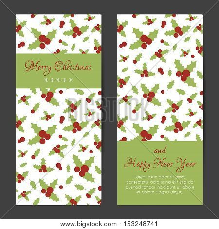Vector greeting card or banner for Christmas and New Year with holly berries pattern