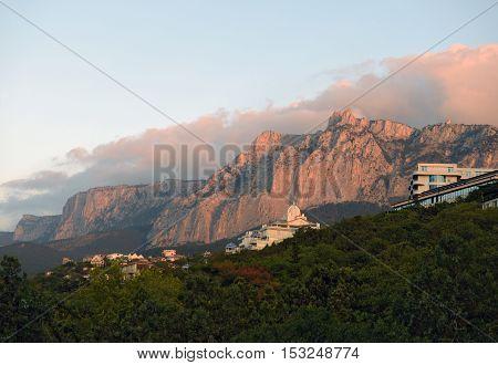 View Towards Ai-petri Mountain From Gaspra Location In Crimea, Russia.