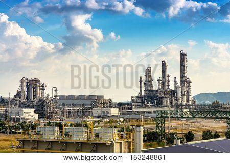 Landscape of petrochemical plant on daylight. Refinery plant.