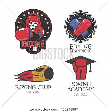 Boxing box club set of vector icons logo symbol emblem signs. Template design elements with boxing gloves for club school competition