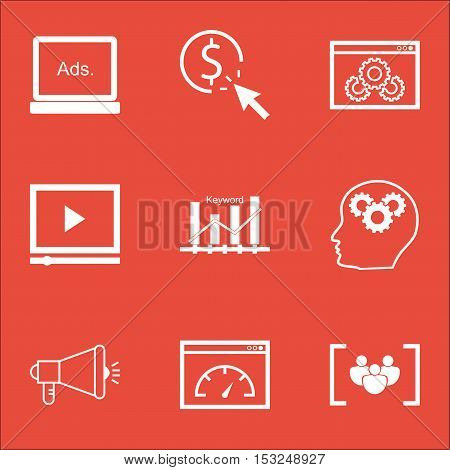Set Of Marketing Icons On Loading Speed, Media Campaign And Brain Process Topics. Editable Vector Il