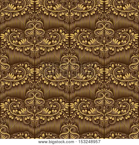 Damask seamless pattern repeating background. Gold brown floral ornament in baroque style. Antique golden repeatable wallpaper.