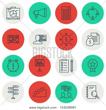 Set Of Project Management Icons On Report, Present Badge And Analysis Topics. Editable Vector Illust