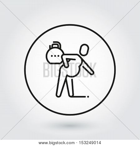 Line simplicity icon of person with spasm in pain. Delivery care concept. Black linear logo for websites, mobile apps and other design needs. Vector contour pictograph