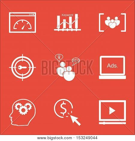 Set Of Seo Icons On Video Player, Loading Speed And Ppc Topics. Editable Vector Illustration. Includ