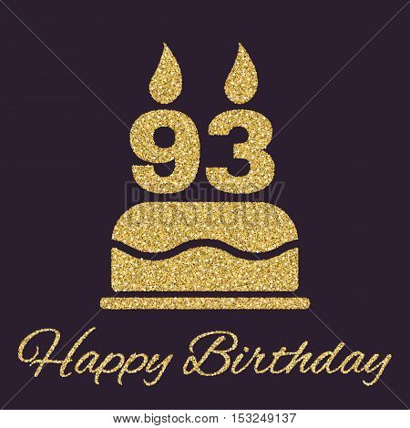 The birthday cake with candles in the form of number 93 icon. Birthday symbol. Gold sparkles and glitter Vector illustration
