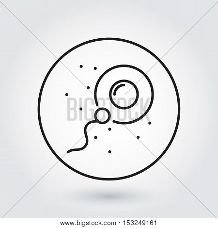 Sperm icon fertilizing egg cell. Logo drawn in outline style. Simple black line image of newborn concept. Label for your design needs. Vector contour graphics