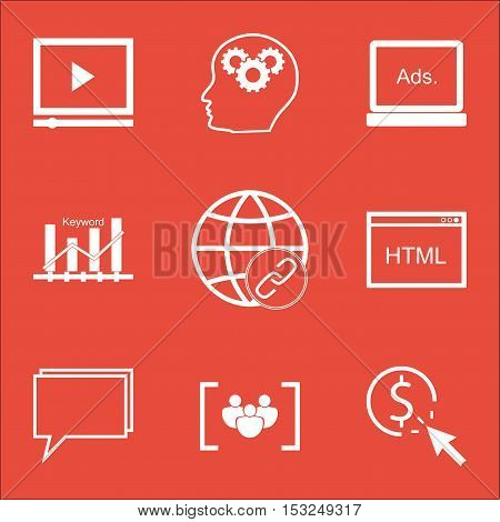 Set Of Advertising Icons On Digital Media, Keyword Optimisation And Conference Topics. Editable Vect