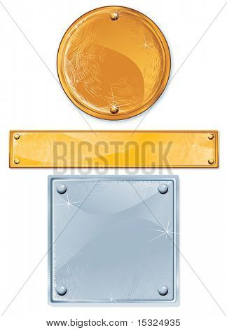 vector Polished metal plate with rivets, isolated objects