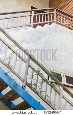 Minimal house side with wooden gate stock photo