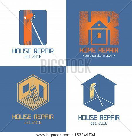 Set of home repair house renovation vector icon symbol sign logo emblem. Template graphic design elements for construction company housing service handyman home and house maintenance
