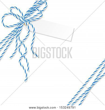 Abstract white background with tag label tied up with blue rope bakers twine bow and ribbons