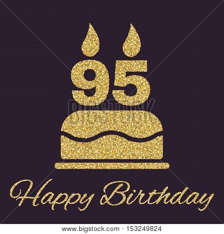 The birthday cake with candles in the form of number 95 icon. Birthday symbol. Gold sparkles and glitter Vector illustration