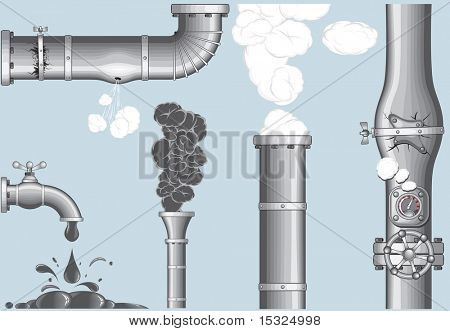 Industrial elements.Chimney with Smog and steam ,damaged pipeline,cracked pipe, broken faucet(vector id=42725515)