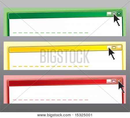 Original Web Message style Header/ Banner/frame,at three colors (start/wait/stop)