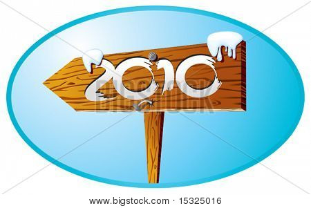 Detailed vector direction sign with year label and snow