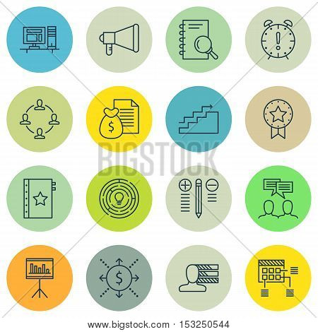 Set Of Project Management Icons On Innovation, Schedule And Announcement Topics. Editable Vector Ill