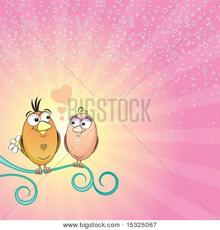 Vector couple of bird for Valentine's day