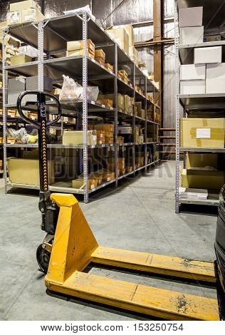 Forklift On Large Warehouse