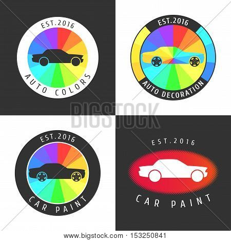 Set collection of car paint car parts vector icon symbol sign logo emblem. Template graphic design element for garage car service shop with spraying airbrushing