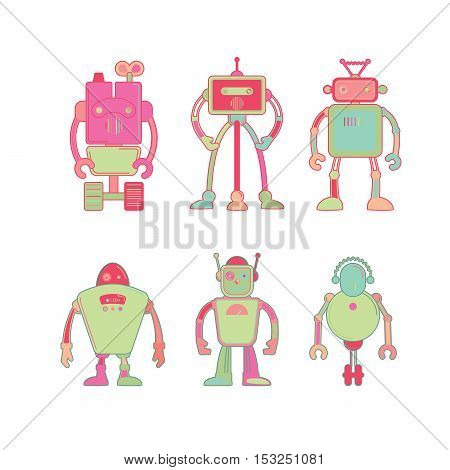 Cute colorful robot icon set on white background vector illustration