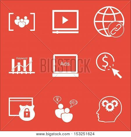 Set Of Advertising Icons On Security, Connectivity And Brain Process Topics. Editable Vector Illustr