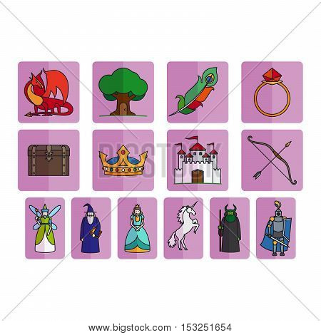 Fairy tale elements in flat style, vector set