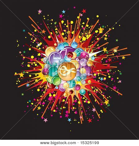 Music explode.Vector image