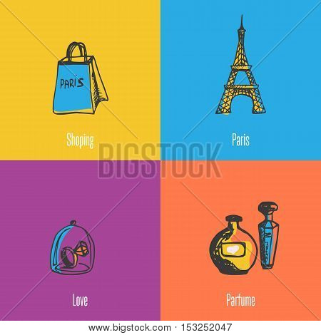 French national, cultural, fashion, architectural symbol. Eiffel tower, shopping bag, ring with diamond under glass, bottles of perfume icons vector illustrations. France parfume icons. Travel to France symbol concept. Discover France. Cartoon France icon