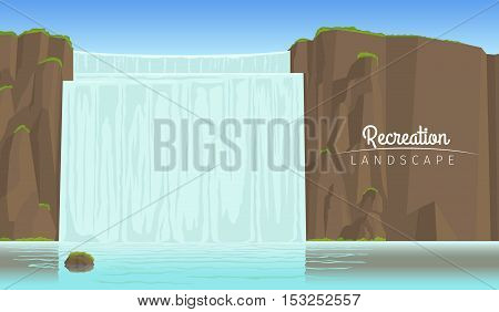 Realistic vector recreation tourism landscape, horizontal background with waterfall