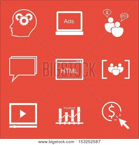 Set Of Marketing Icons On Brain Process, Video Player And Digital Media Topics. Editable Vector Illu