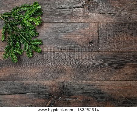 Christmas tree branches on rustic wooden background. Undecorated evergreen twigs