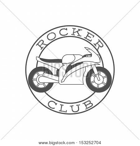 Rocker club retro label in circle shape. Vector illustration