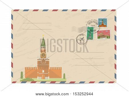 Kremlin palace at Red Square in center of Moscow. Postal envelope with famous architectural composition, postage stamps and postmarks vector illustration. Postal services. Envelope delivery