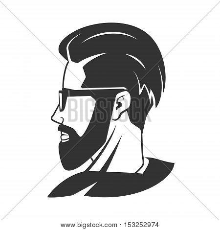 Man with beard hipster barbershop vector illustration. Minimalistic human head drawing. Barbershop logo