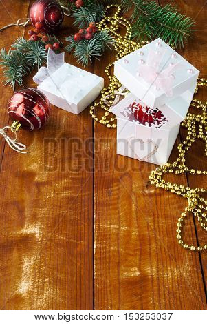 Christmas composition with red balls and fir branches